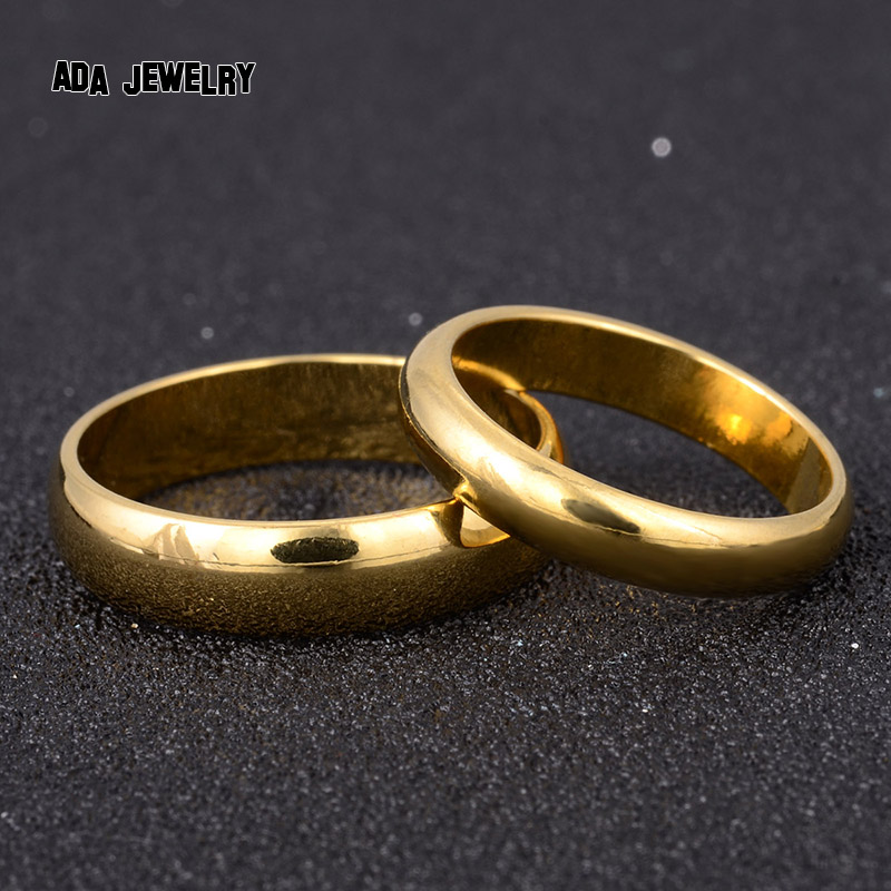 Simple Engagement Wedding Couple Rings Lovers Set Gold Plated