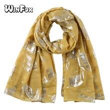 Winfox Fashion Yellow Shiny Glitter Scarf Women Foil Gold Silver Leaf Shawl Wrap Muslim Hijab Scarves For Ladies