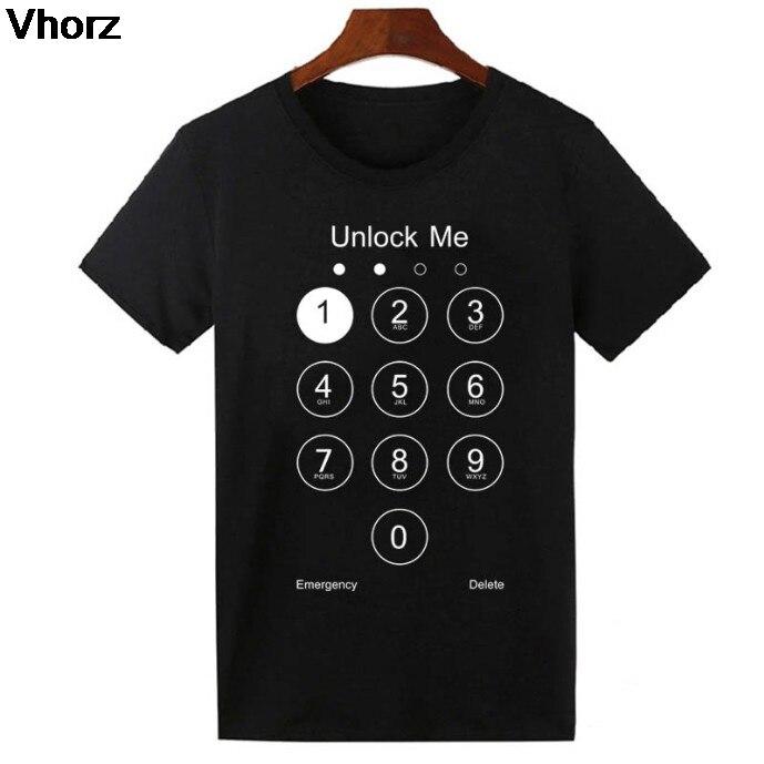 2017 Mode D'été Conception Drôle Déverrouiller Me T chemise Téléphone Écran Top Tee Shirts Coton T-shirt Frais Belle Pour Hommes Femmes NOUS taille