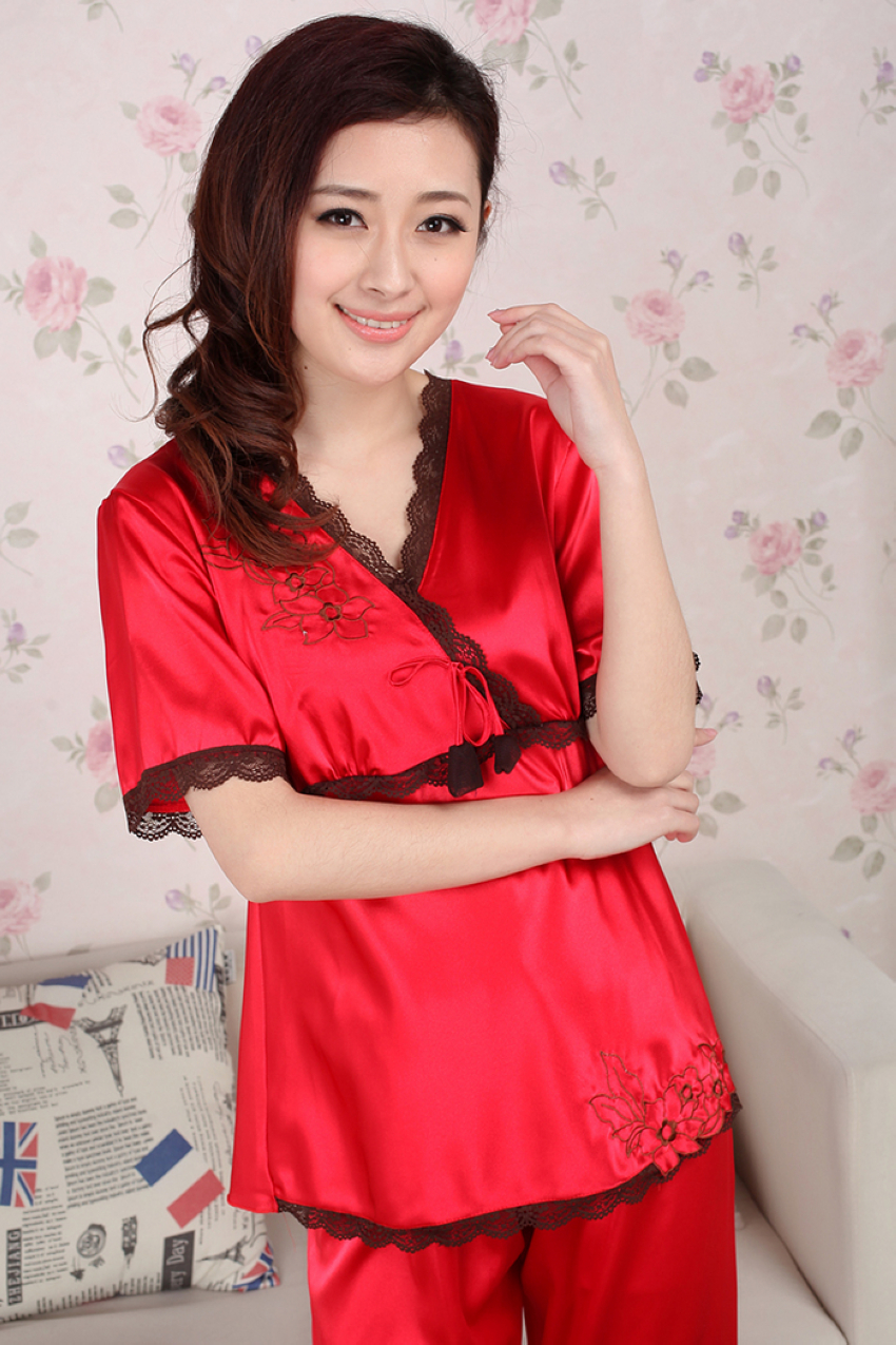 Red Silk Pajamas for Women Promotion-Shop for Promotional Red Silk ...
