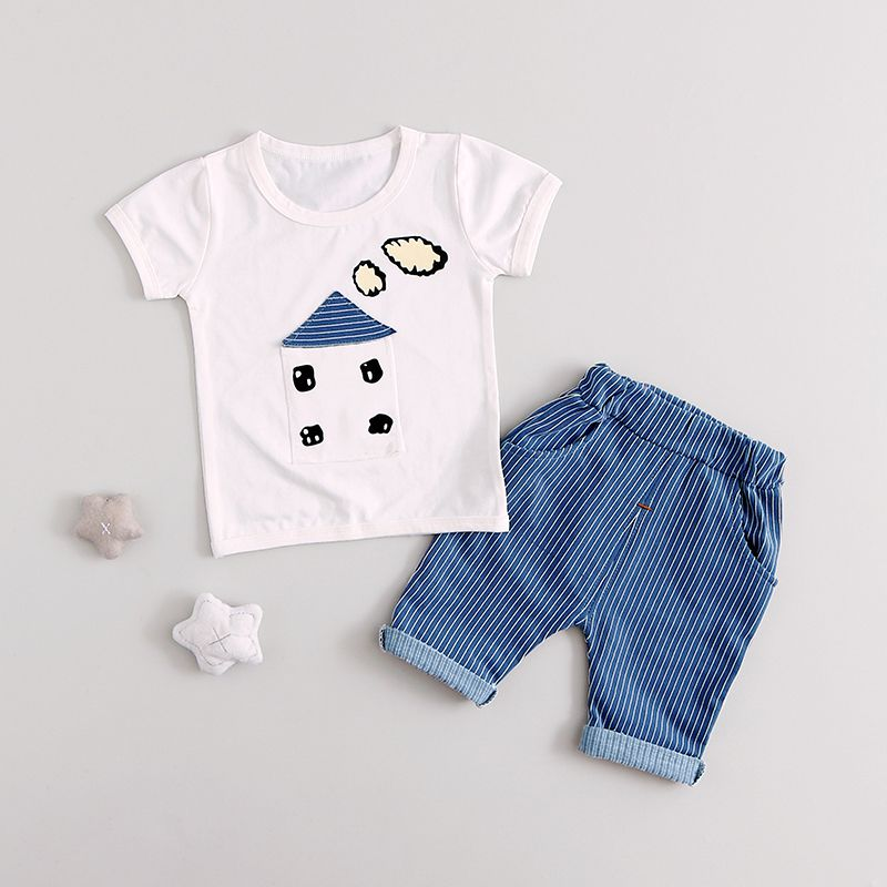 Fashion Cute Summer Baby Boys Girls Clothes Sets Casual Style Infant Cotton Suits T Shirt+Pants 2 Piece Kids Children Suits hot sale 2016 kids boys girls summer tops baby t shirts fashion leaf print sleeveless kniting tee baby clothes children t shirt