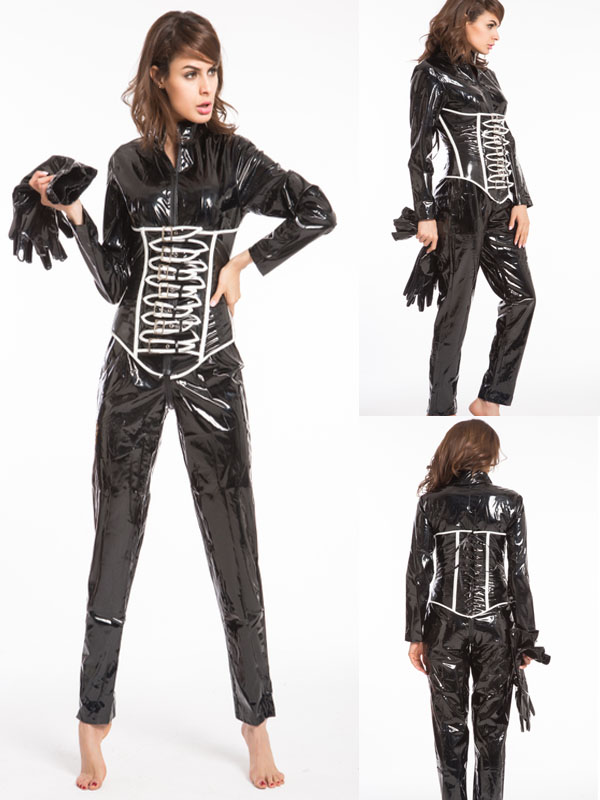 Free Shipping Adult New Arrival Women Leather Jumpsuit <font><b>Sexy</b></font> <font><b>Catwoman</b></font> Catsuit Black Cat Halloween <font><b>Costume</b></font> image