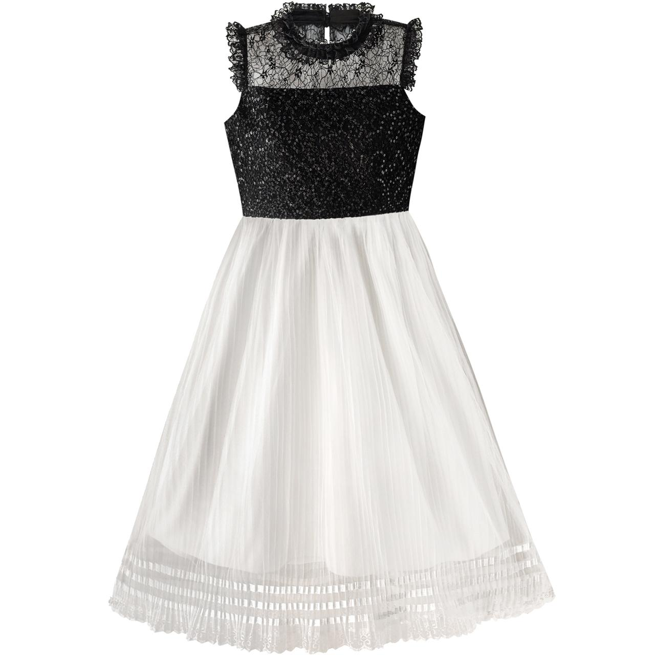 Sunny Fashion Girls Dress White and Black Pleated Lace Sequin 2018 Summer Princess Wedding Party Dresses Clothes Size 6-14 sunny fashion girls dress hi lo maxi chiffon lace polka dot necklace party 2018 summer princess wedding dresses size 7 14