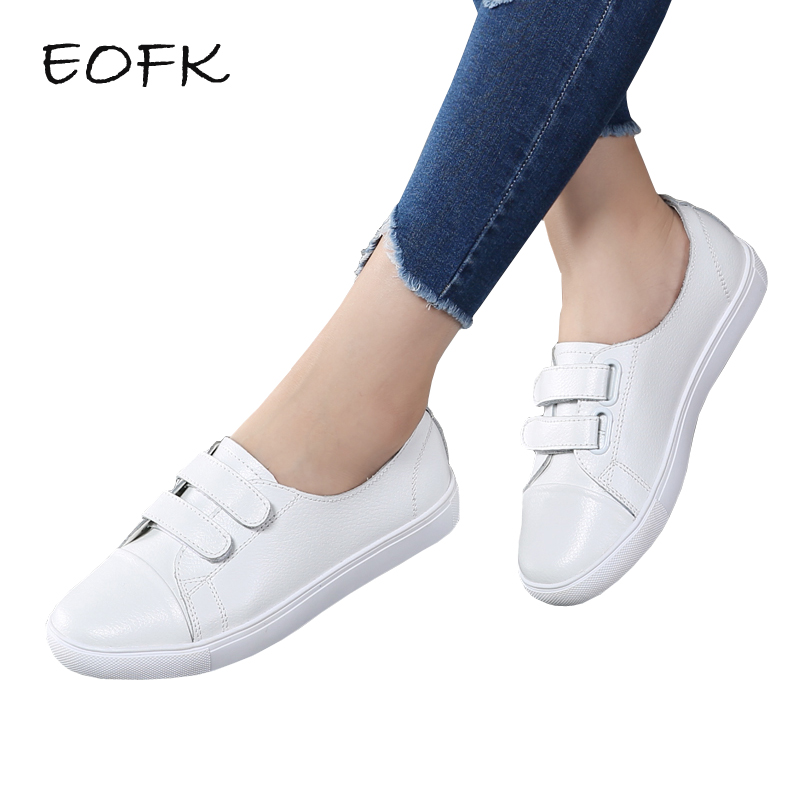 EOFK Spring Women White Flats Leather Casual Shoes Woman Round Toe Hook Loop ladies flat footwear