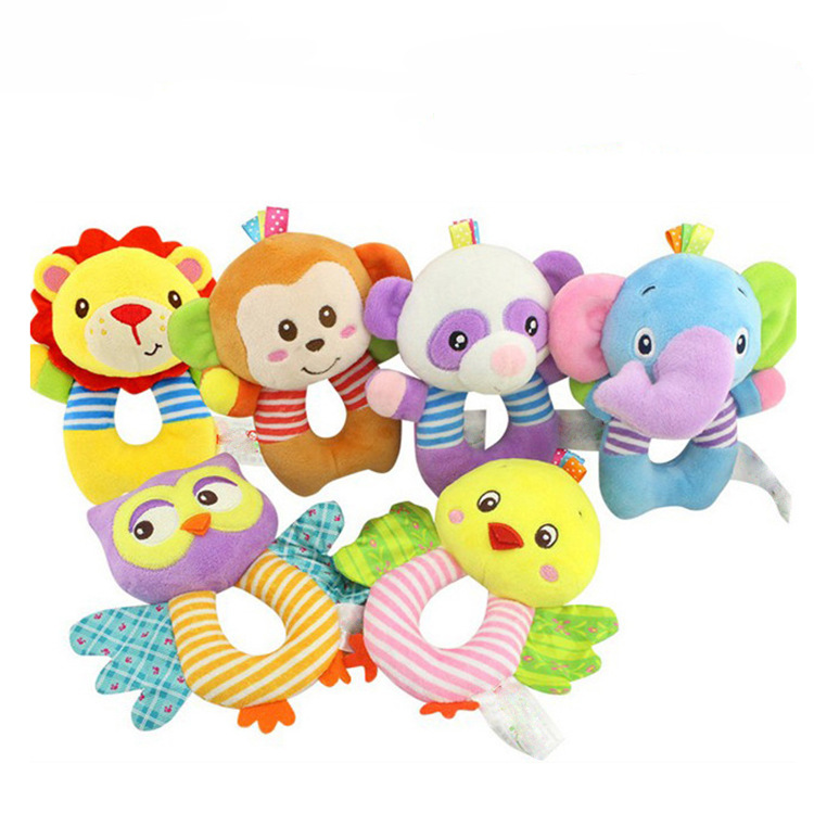 Newborn Baby Toddler Toys 0-12 Months Cartoon Animal Owl Elephant Baby Boy Girl Rattles Hand Bell Infant Toddler Plush Toys ...