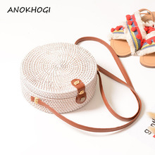 054cbdc4c0 White PU Leather Strap Handmade Women Rattan Bags Straw Vintage Solid  Weaving Beach Shoulder Bags Female