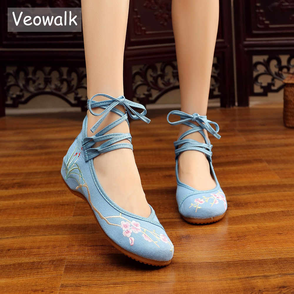 Veowalk Dây Đeo Mắt Cá Chân Phụ Nữ Trung Quốc Thêu Vải Ba Lê Bãi Thoải Mái Dép Nữ Cotton Thêu Ballerina Giày