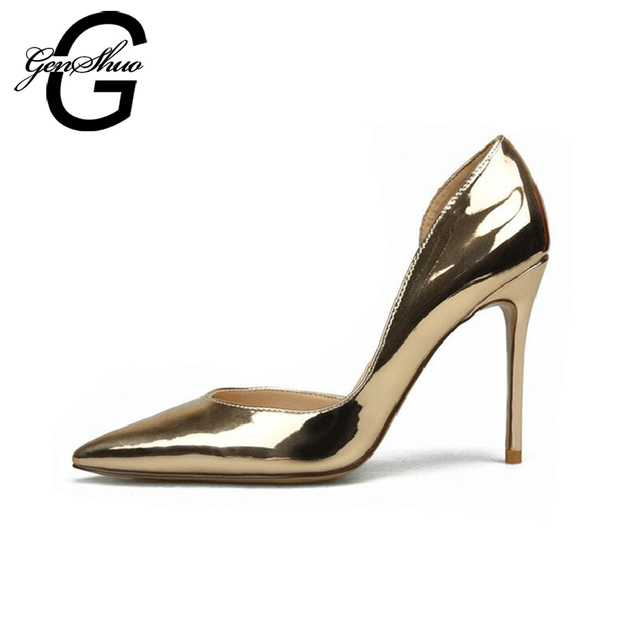 GENSHUO High Heels Women's Patent Leather Shoes Pumps 6cm 8cm 10cm Pointed Toe Stiletto Sexy Party Wedding Shoes Size 4-9.5