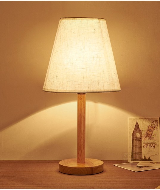 Cottage Style Wooden Table Lamp 200 420mm E27 Wood Testile White Lampshade Desk