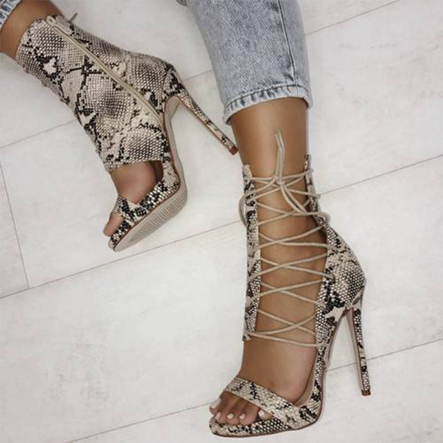 Teahoo Summer Snakeskin Gladiator Sandals Women Ankle Strap High Heels  Sandals Women 2018 Fashion Open Toe Pumps Shoes Woman 0ccf7c0bcde7