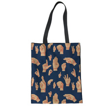 FORUDESIGNS Funny Pattern Reusable Grocery Bags Folding Shopping Cart Canvas Tote Student Storage Package Fashion Shoulder Bags
