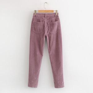Image 4 - Vintage Macaron color Corduroy Pants Autumn Woman Mid Waist Ankle Length Loose Harem Pants Trousers Femme Casual Long Pants