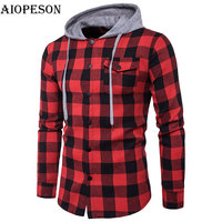 AIOPESON Mens Hoodies Slim Fit Hooded Long Sleeve Sweat Shirts Casual Lattice Jackets And Outside Wear