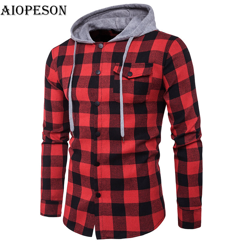 AIOPESON Mens Hoodies Slim Fit Hooded Long Sleeve Sweat Shirts Casual Lattice Jackets And Outside Wear Hoodies Men Plus Size2XL