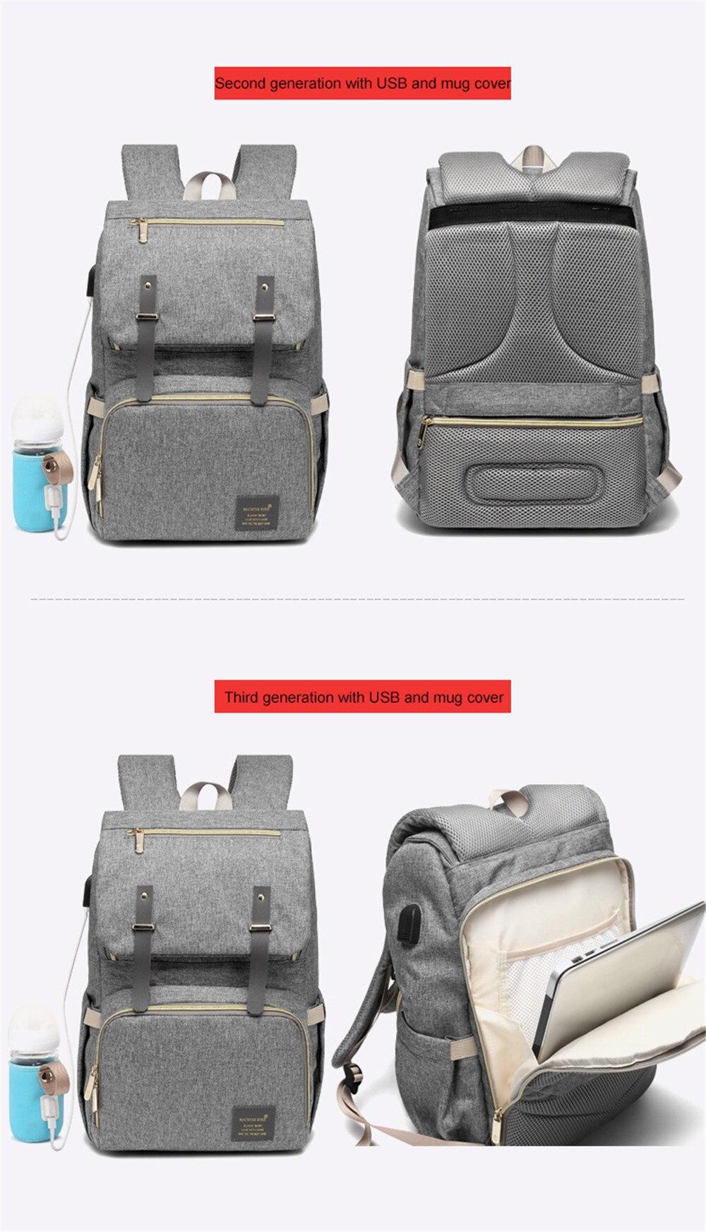 HTB1FhgEM4jaK1RjSZFAq6zdLFXaN Fashion Large Capacity Baby Nappy Bag Diaper Bag Purse Multifunction USB Mummy Travel Backpack Women Nursing Bags For Mom Daddy