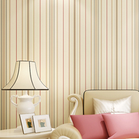 Modern minimalist home improvement non - woven stripes wallpaper. Mediterranean living bedroom television background wallpaper
