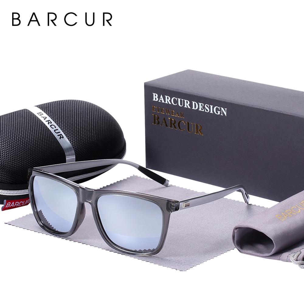 BARCUR Polarized Sun glasses for Men Aluminum Legs Sunglasses Polarized PC Frame Vintage Night Male Driving Glasses Women