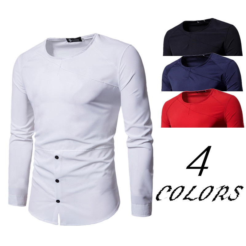 New summer men's slim personality round neck pullover long sleeve fashion tshirt casual mens clothing T shirts male