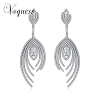 VOGUESS Silver Gold Colors Crystal Leaf Long Drop Earrings Luxury Bridal Wedding Jewelry For Women Free