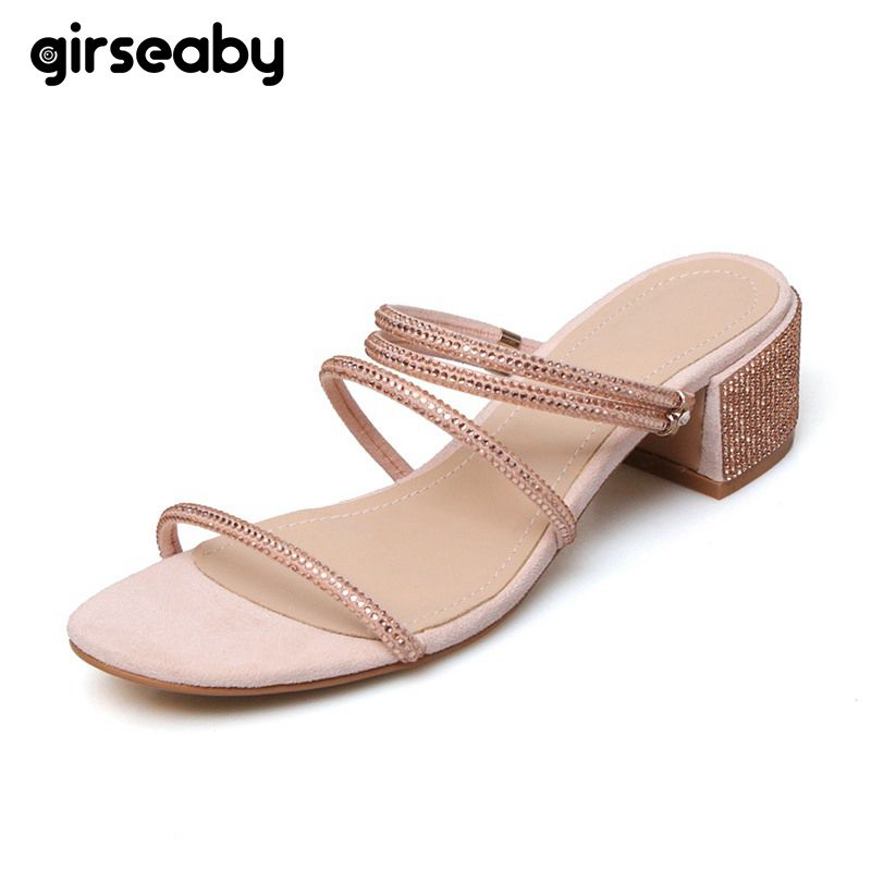 Girseaby Shoes women ladies Square heel Kid suede Slip on Crystal Rhinestone Black Nude Sandals Summer Sapato Feminino E153