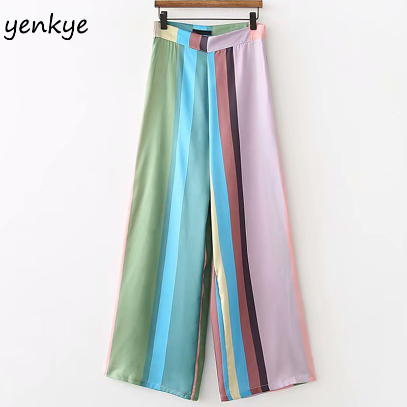Summer Women Multicolor Striped   Wide     Leg     Pants   Female Side Zipper High Waist Casual Loose Palazzo Trousers XDWM1296