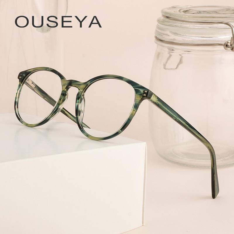 Acetat Runde Brille Frauen Transparent Klar Mode Dekorative Keine Grad Objektiv Große Armacao De Brillen Für Frauen # Cb5190