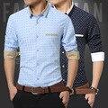 YG6163-4Cheap al por mayor 2016 nuevos Hombres de camisa de manga larga, cultive su moralidad ocio impresa punto de negocios masculino camisa del ninguno-hierro