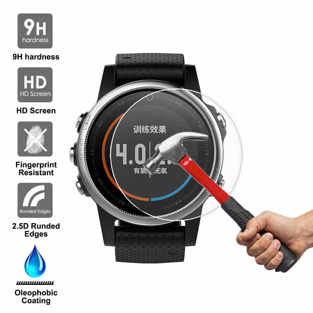 9H Tempered Glass Screen Protector Protective Film for Garmin Fenix 5S GPS Watch SmartWatch Sporting Goods Accessories