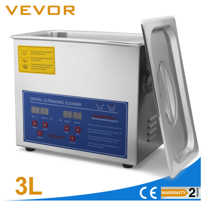 3L Heated Ultrasonic Cleaner With Digital Timer Jewelry Watch Glasses Cleaner Large Capacity Cleaner Solution