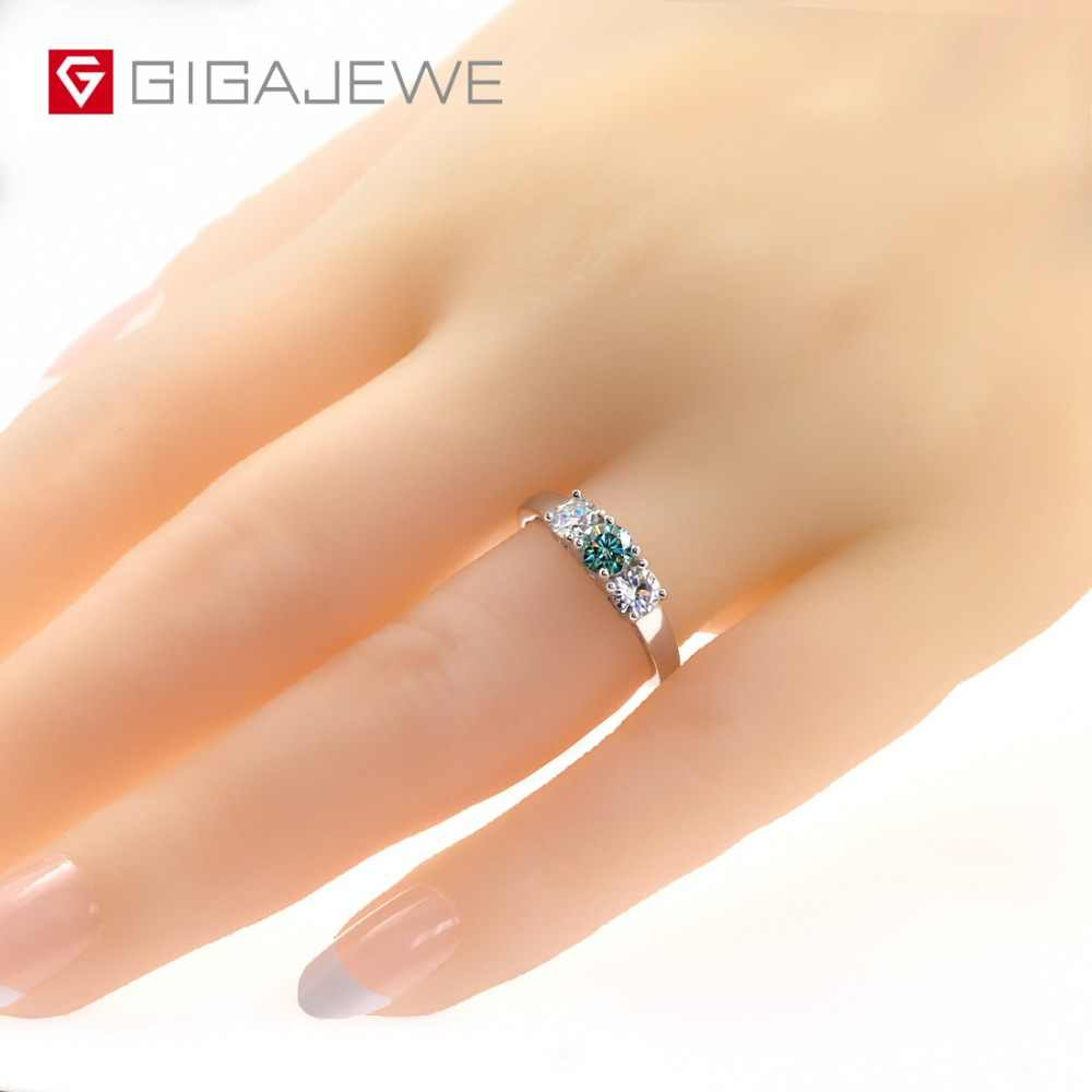 GIGAJEWE Total 1.0ct EF/Green VVS1 Round Excellent Cut Diamond Test Passed Moissanite 925 Silver Ring Jewelry Girlfriend Gift