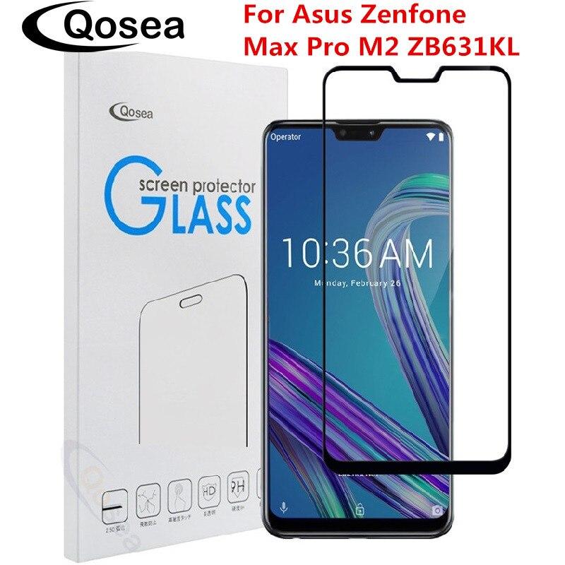 Qosea Pour Asus Zenfone Max Pro M2 ZB631KL Écran Protecteur 9 H Explosion-proof Full Avant Flim Pour Asus ZS600KL Trempé Verre