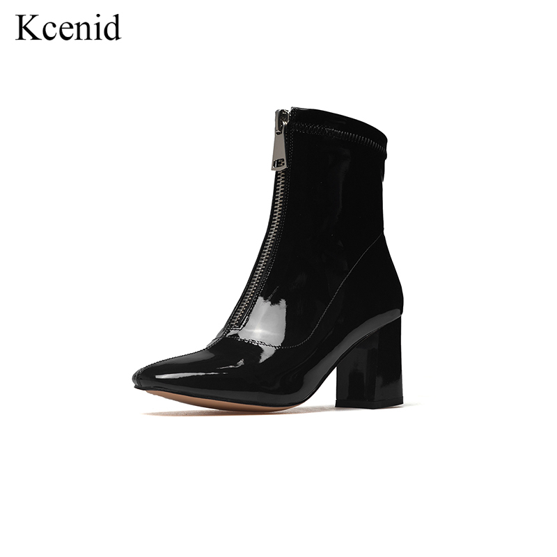 Kcenid Genuine leather fashion square toe ankle boots women black runway shoes 2018 front zipper high