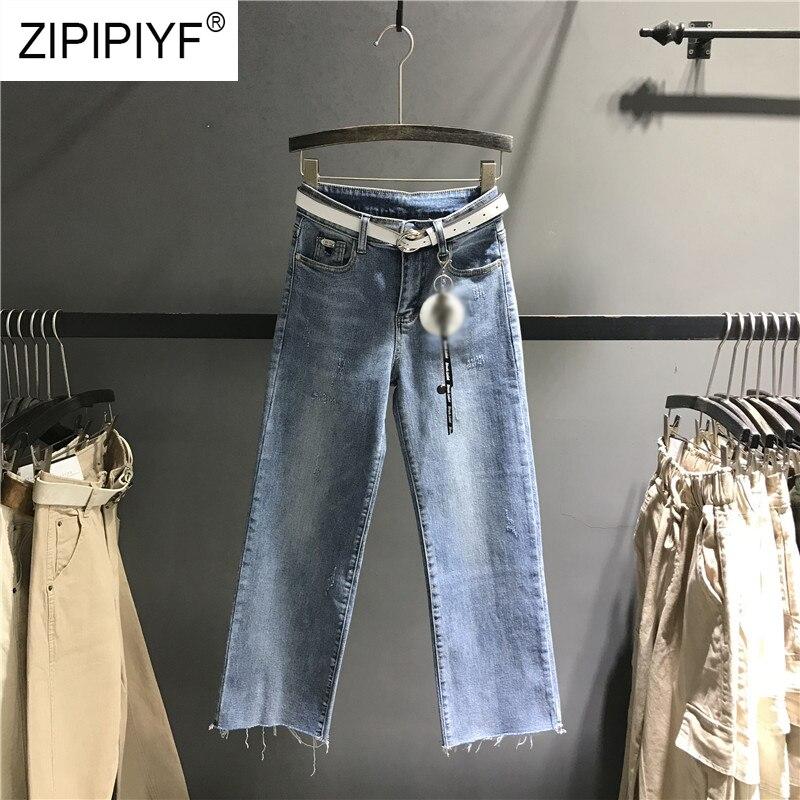 K521 Las Vestidos Moda Azul Cintura Lavado Algodón Jeans Ancha Casual Denim Alta Para Cremallera Mujeres De Pierna Pantalones qgUcTw4
