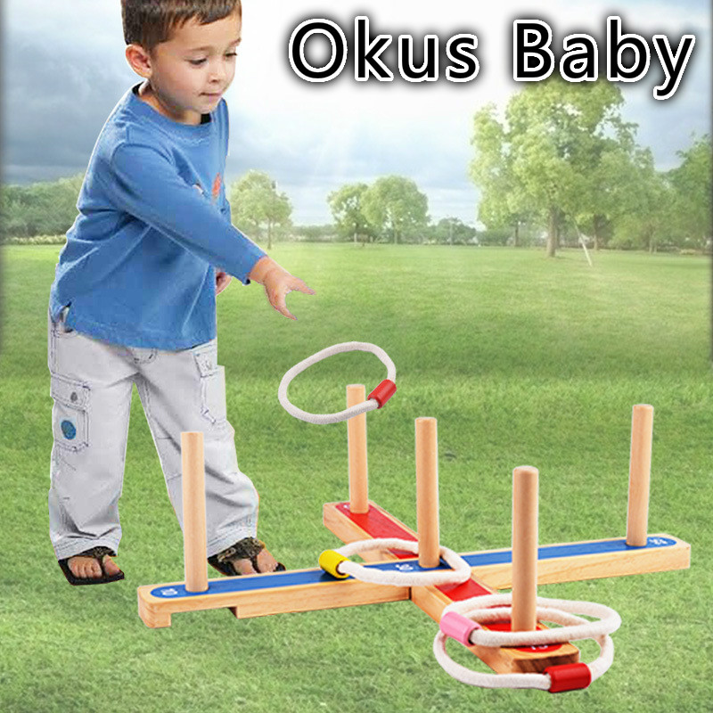 2018 Newest Wooden Ring Toss stand pegs & hoops Outdoor garden game Family Fun affordable family summer play game toys super fun