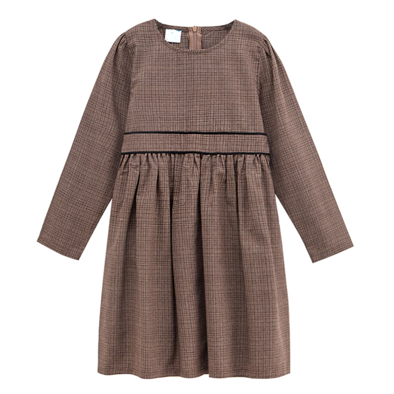 4 to 14 years kids & teenager girls long sleeve gingham flare party dresses children fashion fall winter dress clothing long sleeve flare choker dress