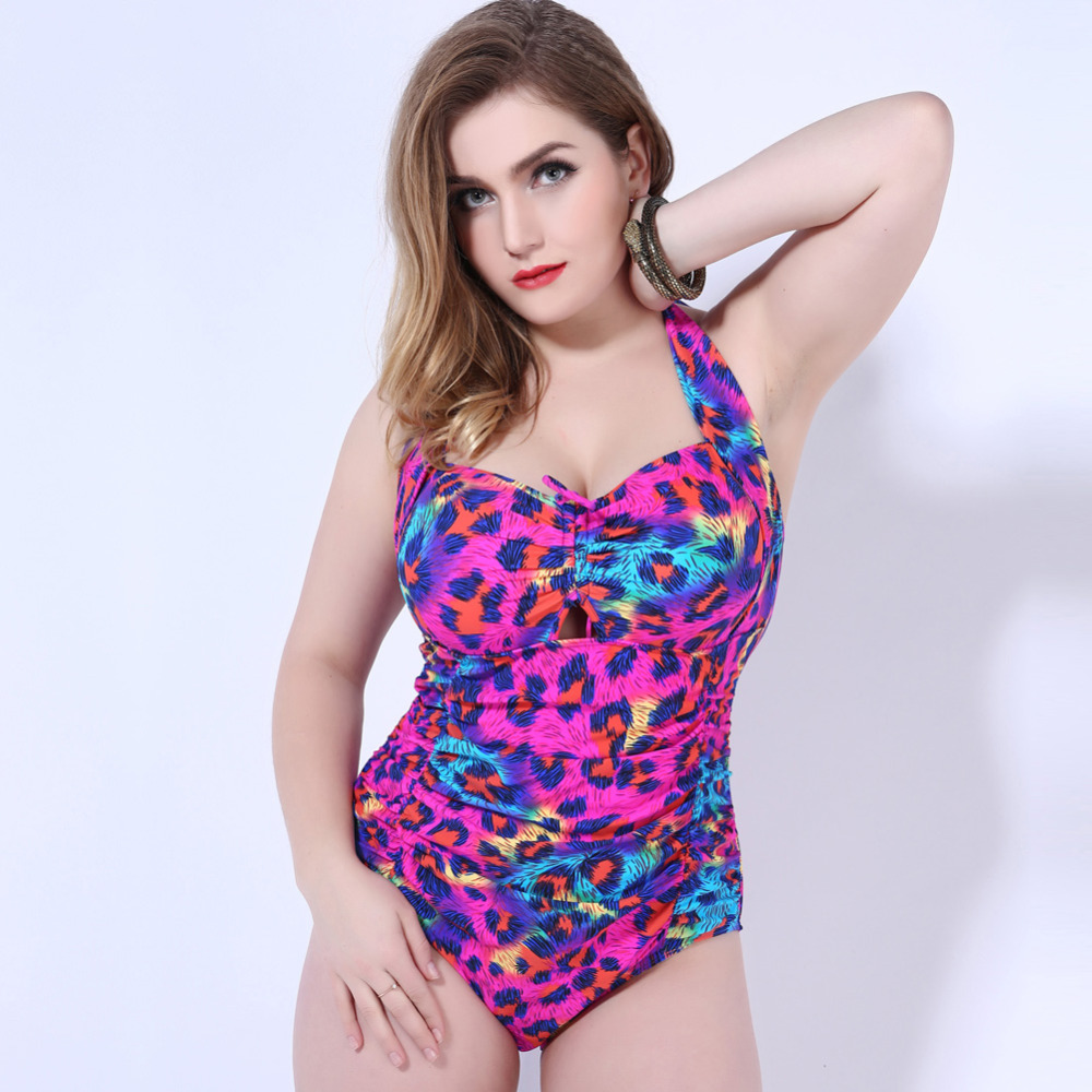2018 New Plus Size Swimwear Women One Piece Swimsuit Sexy Large Size Swimming suit Backless Beach Wear Halter Bathing Suit lace up halter padded plus size bathing suit