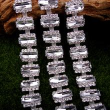 1 yard 2.4 cm Rectangle Crystal Acryl Chain Trims DIY Necklace Neckline of Dress Swimwear Shirt Costume Belt Silver Gold Plated