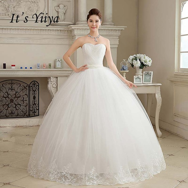 2017 New Arrival Real Photo Plus size Strapless Pearls White Princess Wedding Dresses Cheap Bride Frock Vestidos De Novia HS103 1