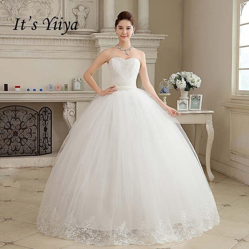 2017 New Arrival Real Photo Plus size Strapless Pearls White Princess Wedding Dresses Cheap Bride Frock Vestidos De Novia HS103
