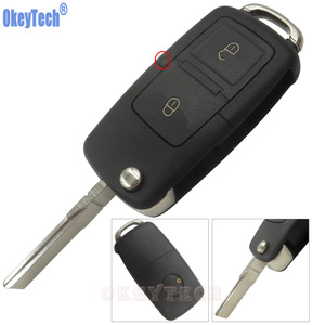 OkeyTech 2 Buttons Flip Folding Remote Car Key Case Fob Shell For VW VOLKSWAGEN MK4 Seat Altea Alhambra Ibiza Car Styling Cover