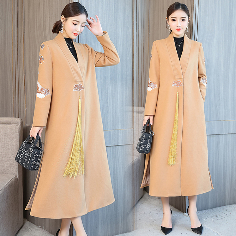 High quality coat long jacket women Embroidered Woolen coat NEW Retro autumn coats Women's fashion jackets Stylish clothes B4151