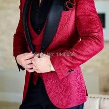 Дизайн, мужские свадебные костюмы, строгий костюм жениха на одной пуговице, бордовый мужской смокинг, пиджак, костюм из 3 предметов, мужской костюм