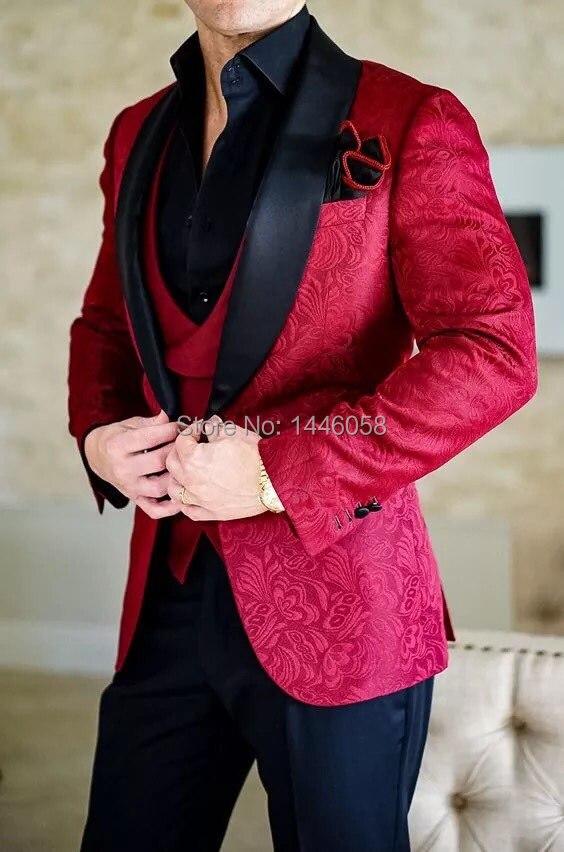 2018 New Design Men Wedding Suits Groom Formal Suit One Buttons Burgundy Tuxedo Jacket Men Suit 3 Pieces Costume Homme