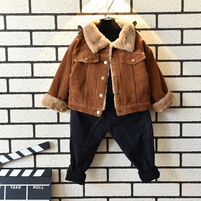 autumn children clothing fake fur collar baby boys clothes kids winter jacket thick boys coat sweatshirt for boy casaco infantil цена