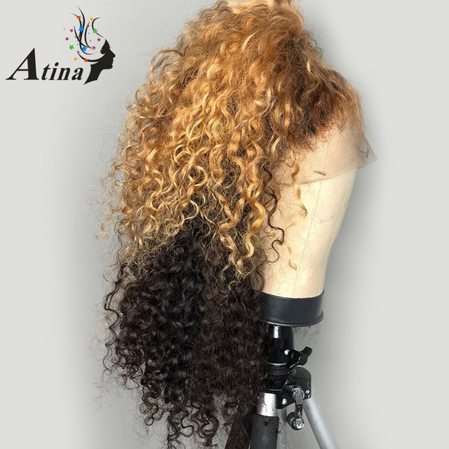 Atina destacar Ombre rubio miel 13X6 parte profunda del pelo humano del frente del cordón pelucas Preplucked rizado Remy 360 de encaje cierre Frontal peluca