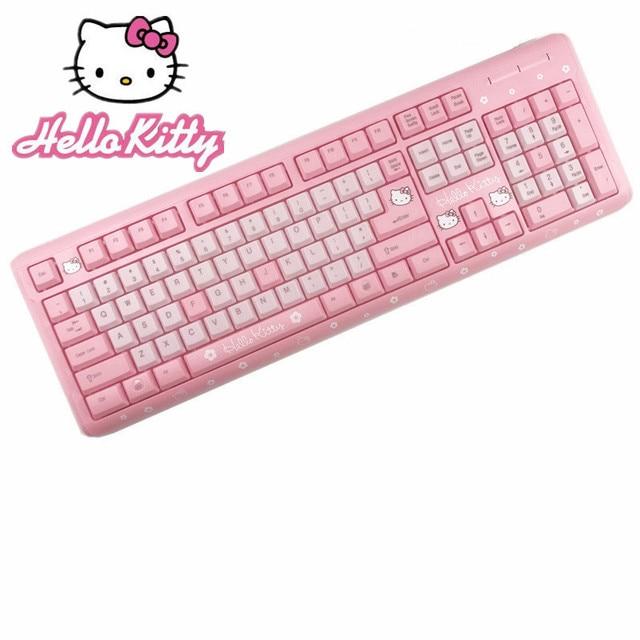 8fe780f5b17 Pink Hello Kitty Keyboard USB Wired Cute Girls Ultra-thin Computer USB  Keyboard For Desktop Girls teclado