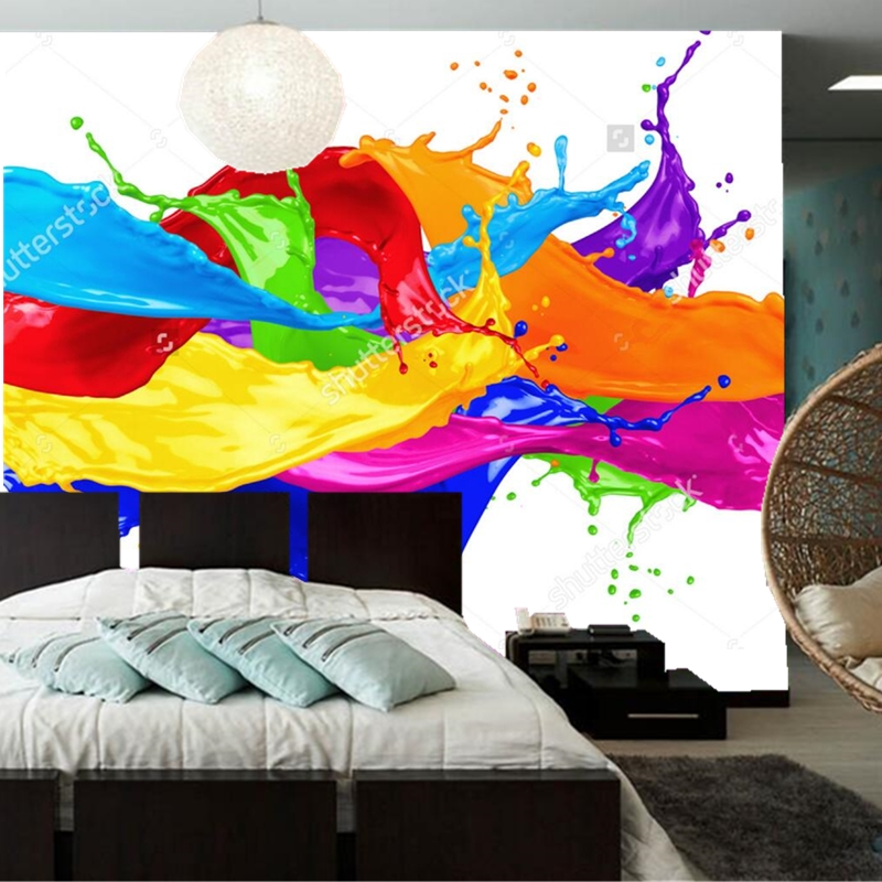 Splash Colorful Room Wall: Color Wallpaper,abstract Color Splash Isolated,3D Modern