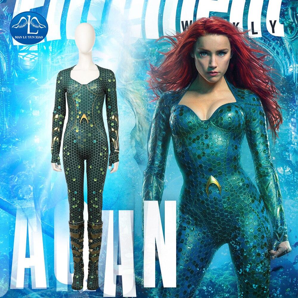 New Aquaman Cosplay Costume Women Mera Costume Halloween Carnival Cosplay Costume For Women Full Set Custom Made