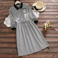 Mori Girl Fall Clothes 2017 New Autumn Plaid Cotton Dress Women Long Sleeved Cat Embroidery Slim