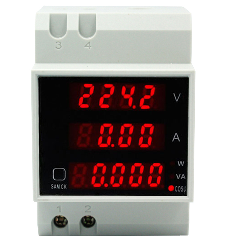 купить D52-2048 Din rail LED Volt current Meter Active Power Factor Energy Ammeter Voltmeter AC 80-300V 0-100.0A 30%off по цене 851.26 рублей